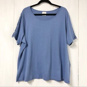 Periwinkle Blue T Shirt with Crochet Lace Sleeves